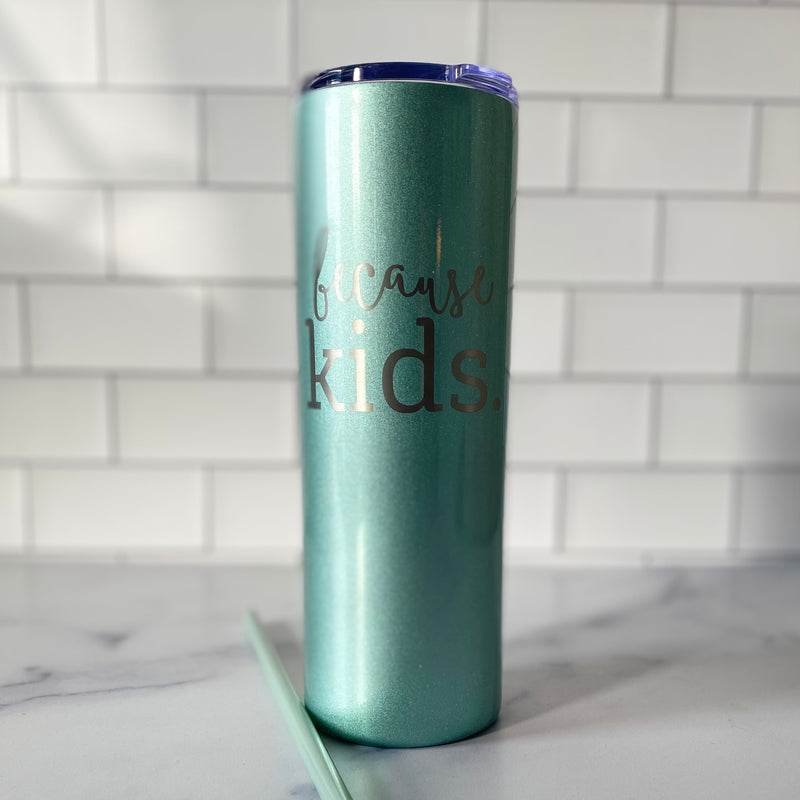 Because Kids 20 oz Stainless Steel Tumbler - Glitter Seascape