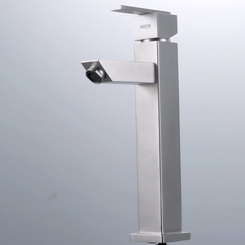 Stainless steel basin mixer - tall