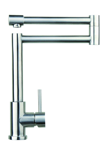 Stainless steel articulated kitchen mixer tap