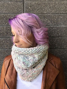 PREORDER KIT For Diamond Stitch Cowl by Knitatude - 3 Skeins ANGEL AURA | Allegro Super Bulky