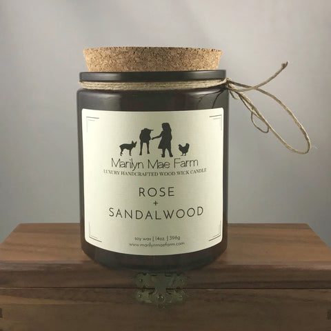 Rose + Sandalwood Luxury Wood Wick Candle