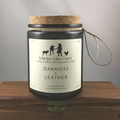 Oakmoss + Leather Luxury Wood Wick Candle