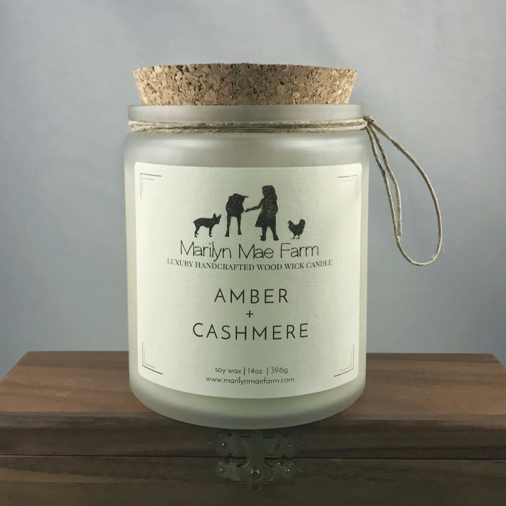 Amber + Cashmere Luxury Wood Wick Candle