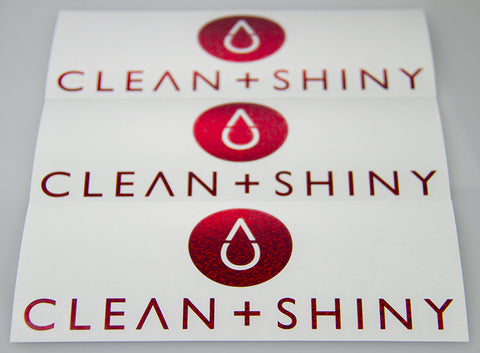 Clean and Shiny Red Sequin Cut Vinyl Stickers - Various Sizes