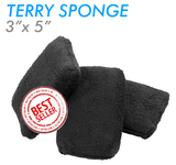 The Rag Company 3 x 5 Microfiber Terry Detailing Sponge Applicator - Black (3 Pack)