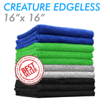 The Rag Company Creature Edgeless 16 x 16 70/30 Microfiber Towel - Black