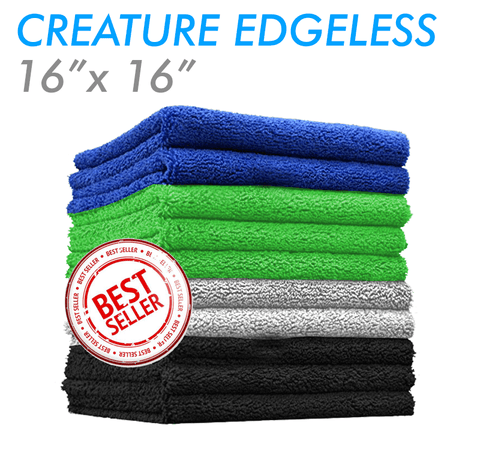 The Rag Company Creature Edgeless 16 x 16 70/30 All Purpose Microfiber Towel - Lime Green