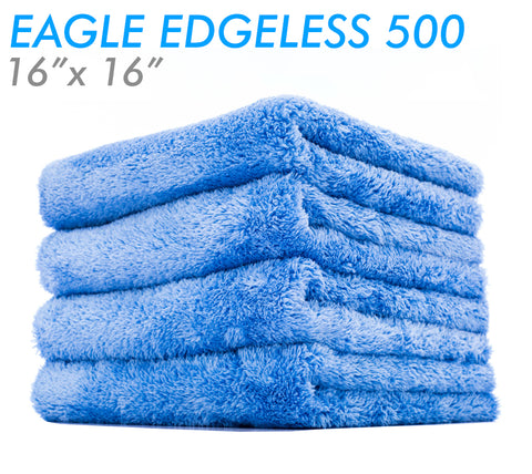 The Rag Company Eagle Edgeless 500 16x16 Plush Microfiber Towel - Blue (4-Pack)