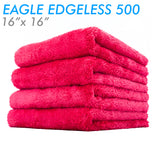 The Rag Company Eagle Edgeless 500 16 x 16 Plush Microfiber Towel - Red (4 Pack)