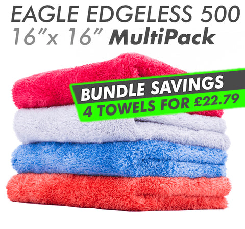 The Rag Company Eagle Edgeless 500 16x16 Plush Microfiber Towel MultiPack