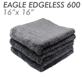 The Rag Company Eagle Edgeless 600 16 x 16 Plush Microfiber Towel - Grey (3-Pack)