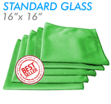 The Rag Company Glass and Window 16 x 16 Microfiber Towel - Green