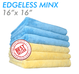 The Rag Company Minx Coral Fleece Edgeless 16 x 16 70/30 Microfiber Towel - Blue