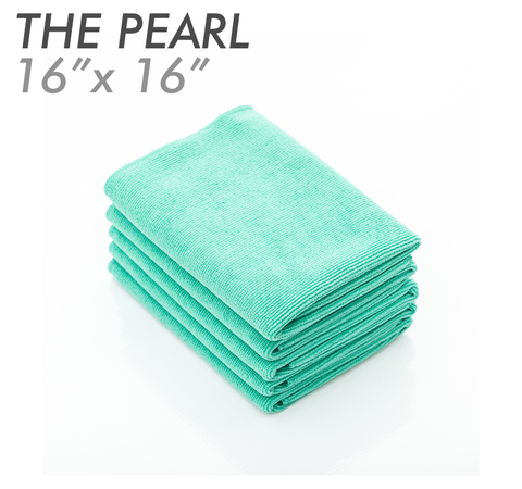The Rag Company Pearl 16 x 16 Coatings & Interior Microfiber Towel - Green