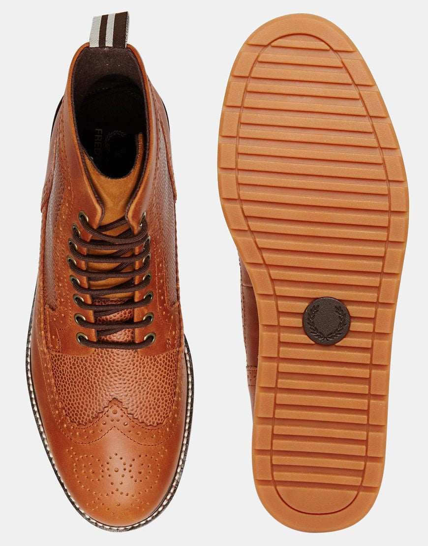 33c982e34e2 Fred Perry Men's Brown Northgate Leather Brogue Boots