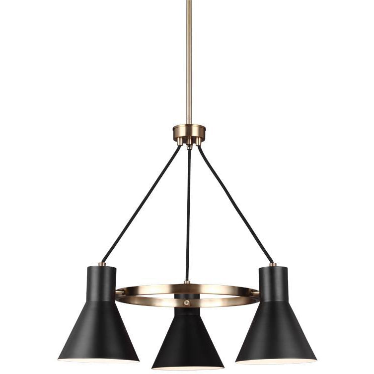 Towner 3-Light Chandelier | Satin Bronze/Black