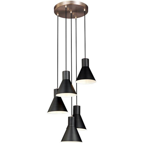 Towner 5-Light Cluster Pendant | Satin Bronze / Black