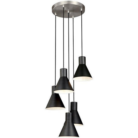 Towner 5-Light Cluster Pendant | Brushed Nickel / Black