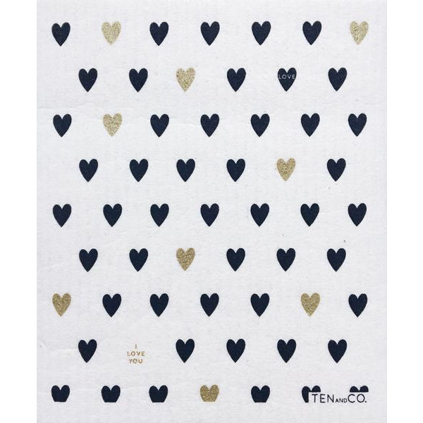 Sponge Cloth Heart Gold/Black (Set of 2)