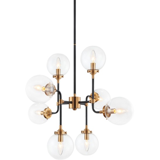 Particles 8-Light Pendant | Aged Gold/Clear