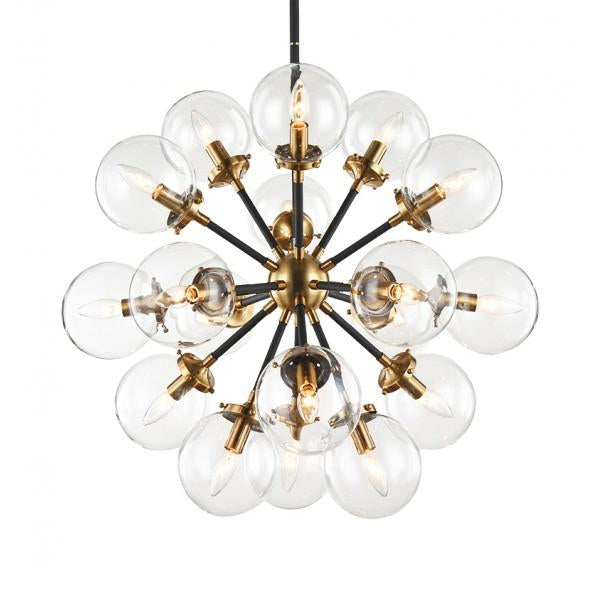 Soleil 18-Light Chandelier | Aged Gold/Clear