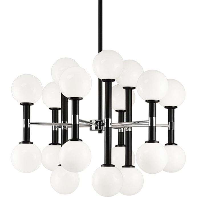 Stellar 18-Light Pendant | Black/Opal Glass