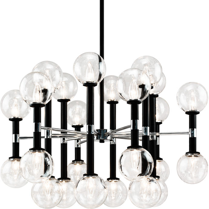 Stellar 24-Light Pendant | Black/Clear Glass