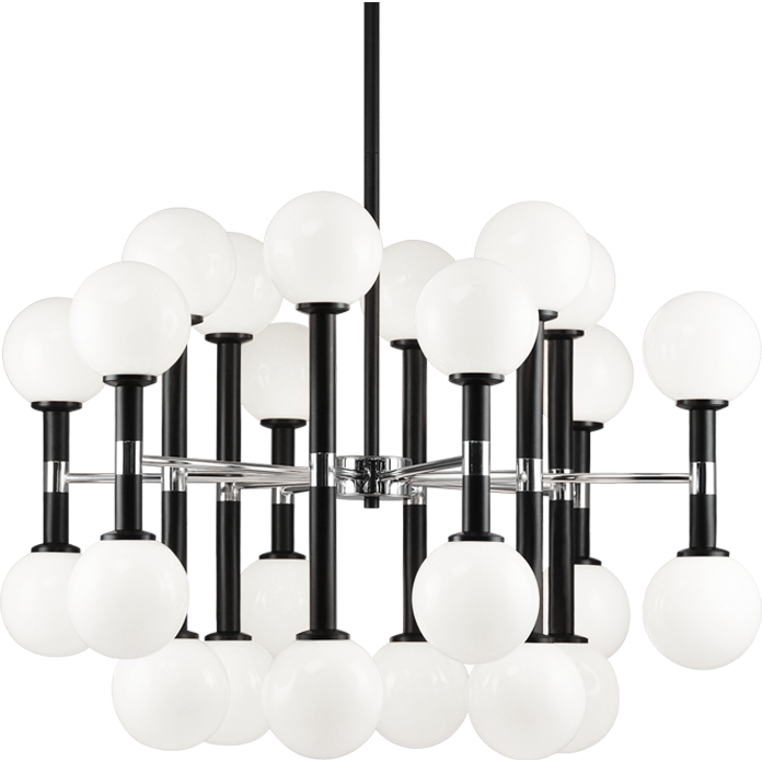 Stellar 24-Light Pendant | Black/Opal Glass