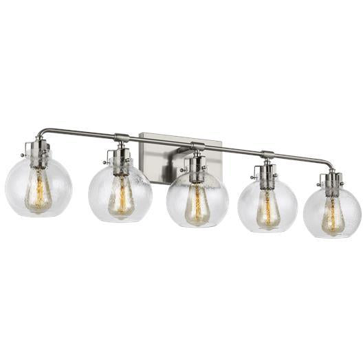 Clara 5-Light Vanity | Satin Nickel