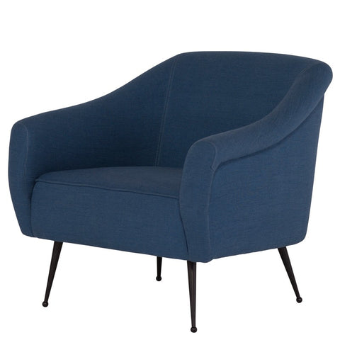 Lacie Lounge Chair |  Agean Blue with black matte legs