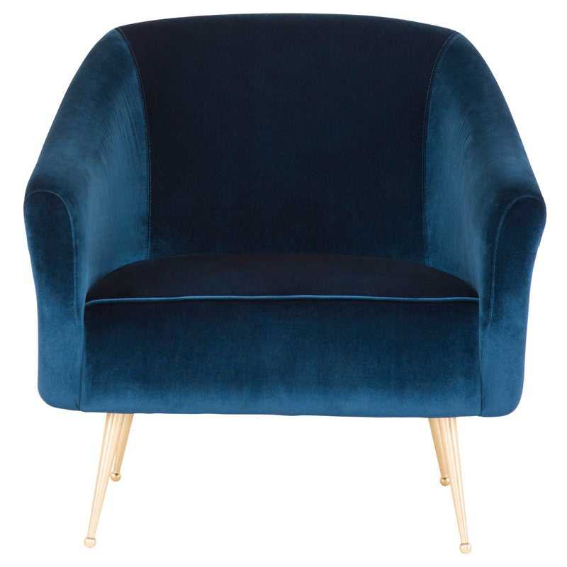 Lacie Lounge Chair|  Midnight Blue/Brushed Gold