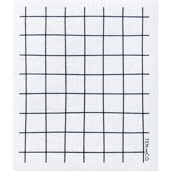 Sponge Cloth | Grid Black (Set of 2)