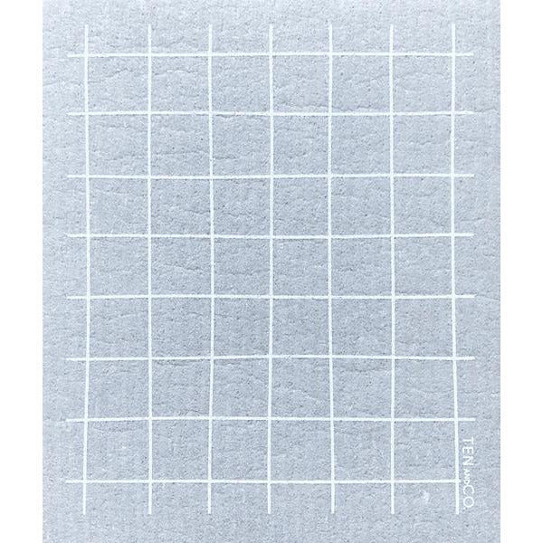 Sponge Cloth Grid Grey (Set of 2)