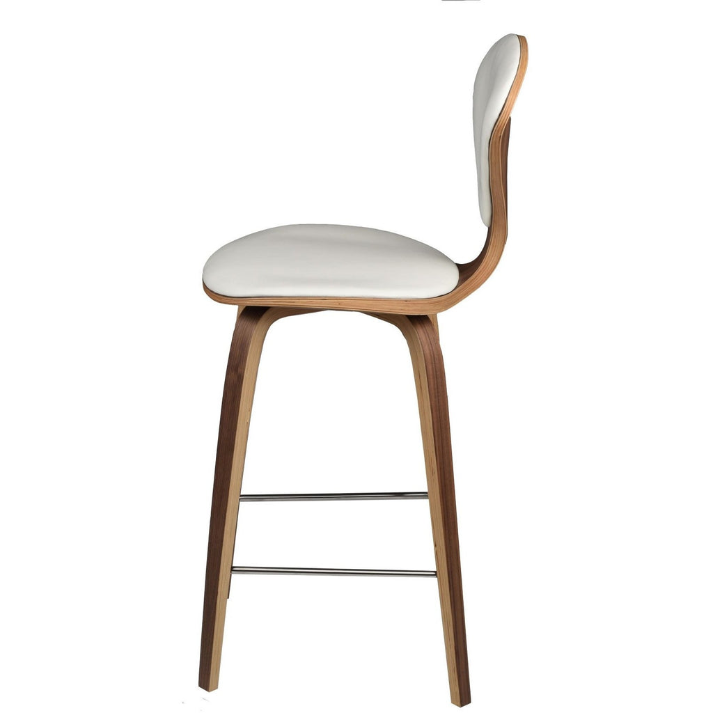 Satine White Leather Bar/Counter Stool