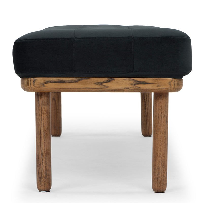 Arla Bench | Shadow Grey fabric with walnut legs
