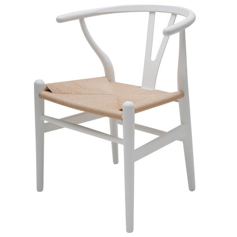 Alben Dining chair | beige seat with white beech wood frame