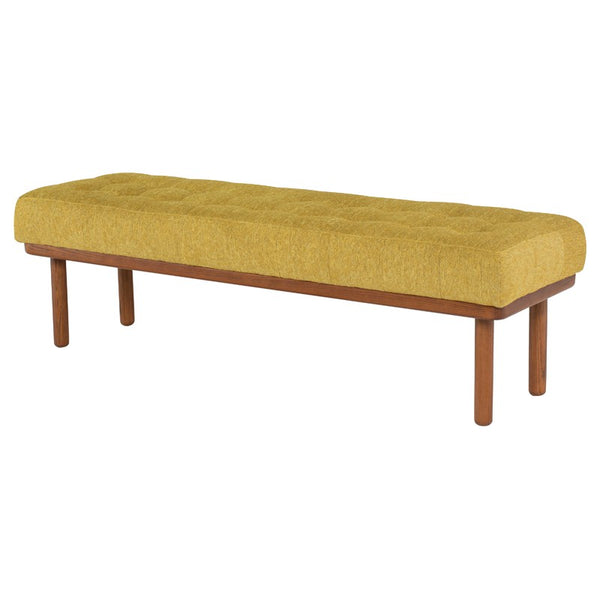 Arla Bench | Palm springs fabric with walnut legs