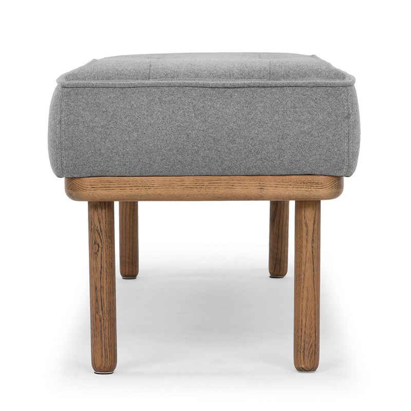 Arla Bench | Grey fabric with walnut legs