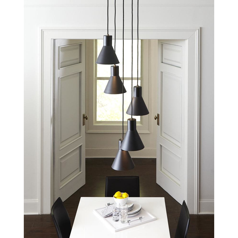 Towner 5-Light Cluster Pendant | Brushed Nickel/Black
