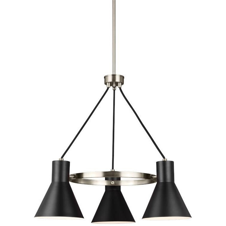 Towner 3-Light Chandelier | Brushed Nickel/Black