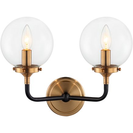 Particles 2-Light Wall Sconce | Aged Gold/Clear
