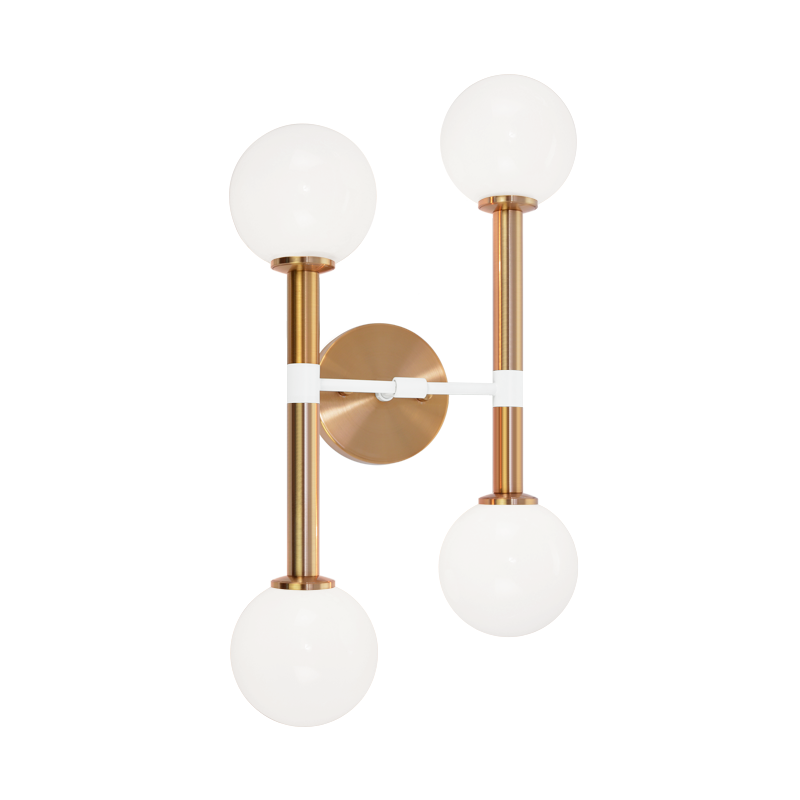 Stellar 4-Light Wall Sconce | Aged Gold/Opal
