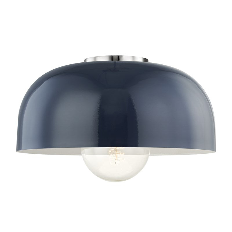 Avery Semi Flush | Polished Nickel/ Navy