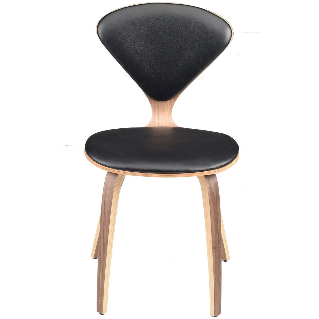 Satine Black Leather Dining Chair