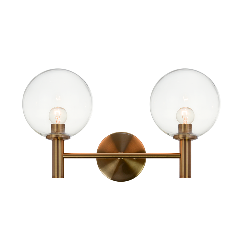 Cosmo 2-Light Wall Sconce | Aged Gold/Clear
