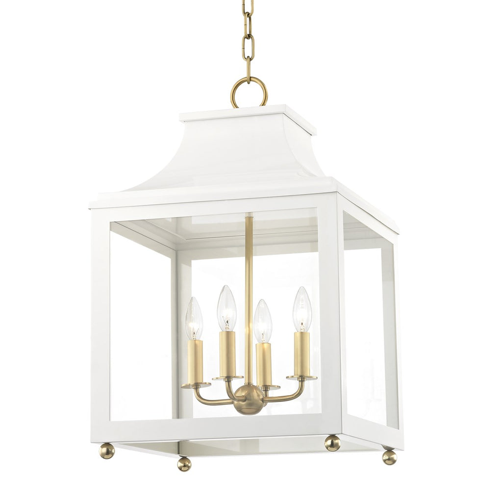Leigh Pendant Aged Brass/ Polished Nickel | White
