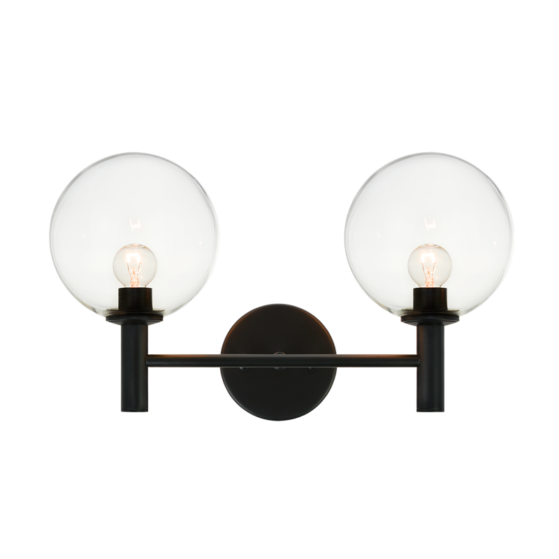 Cosmo 2-Light Wall Sconce | Black/Clear