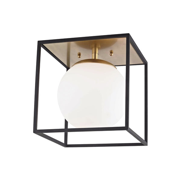 Aira 1-Light Flush Mount (Large) | Aged Brass/Black