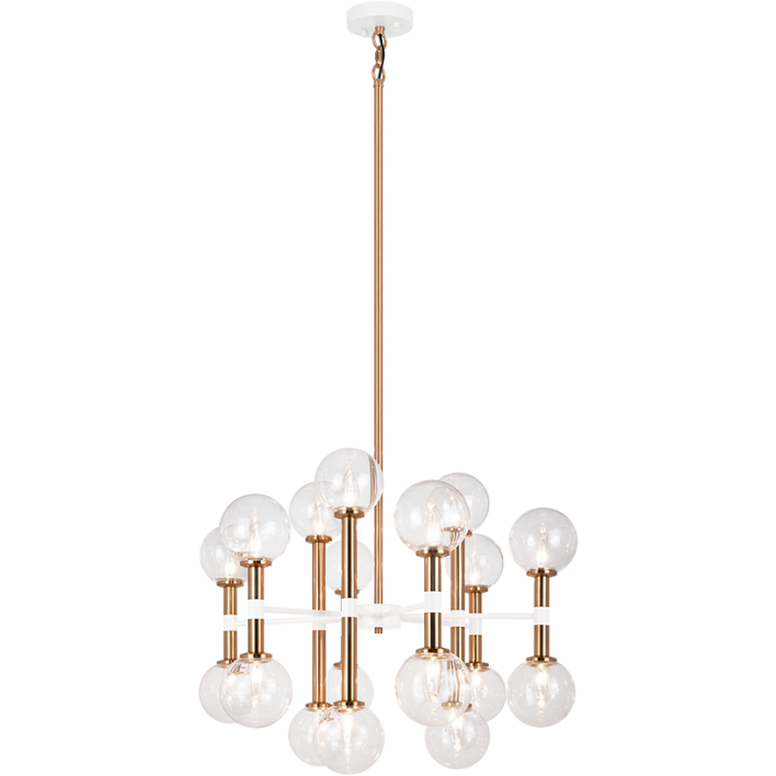 Stellar 18-Light Pendant | Aged Gold/Clear Glass