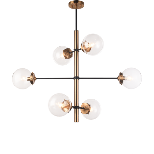 Enchant 6-Light Pendant | Aged Gold/Clear